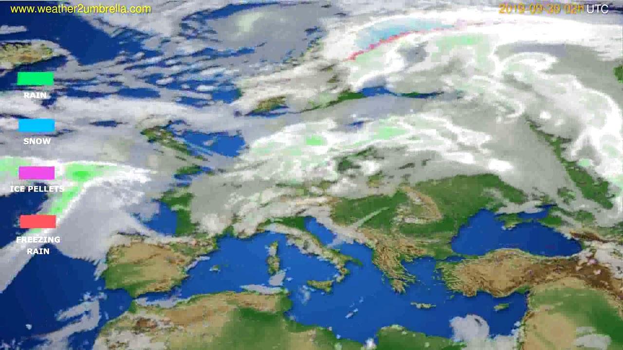 Precipitation forecast Europe // modelrun: 00h UTC 2019-09-27