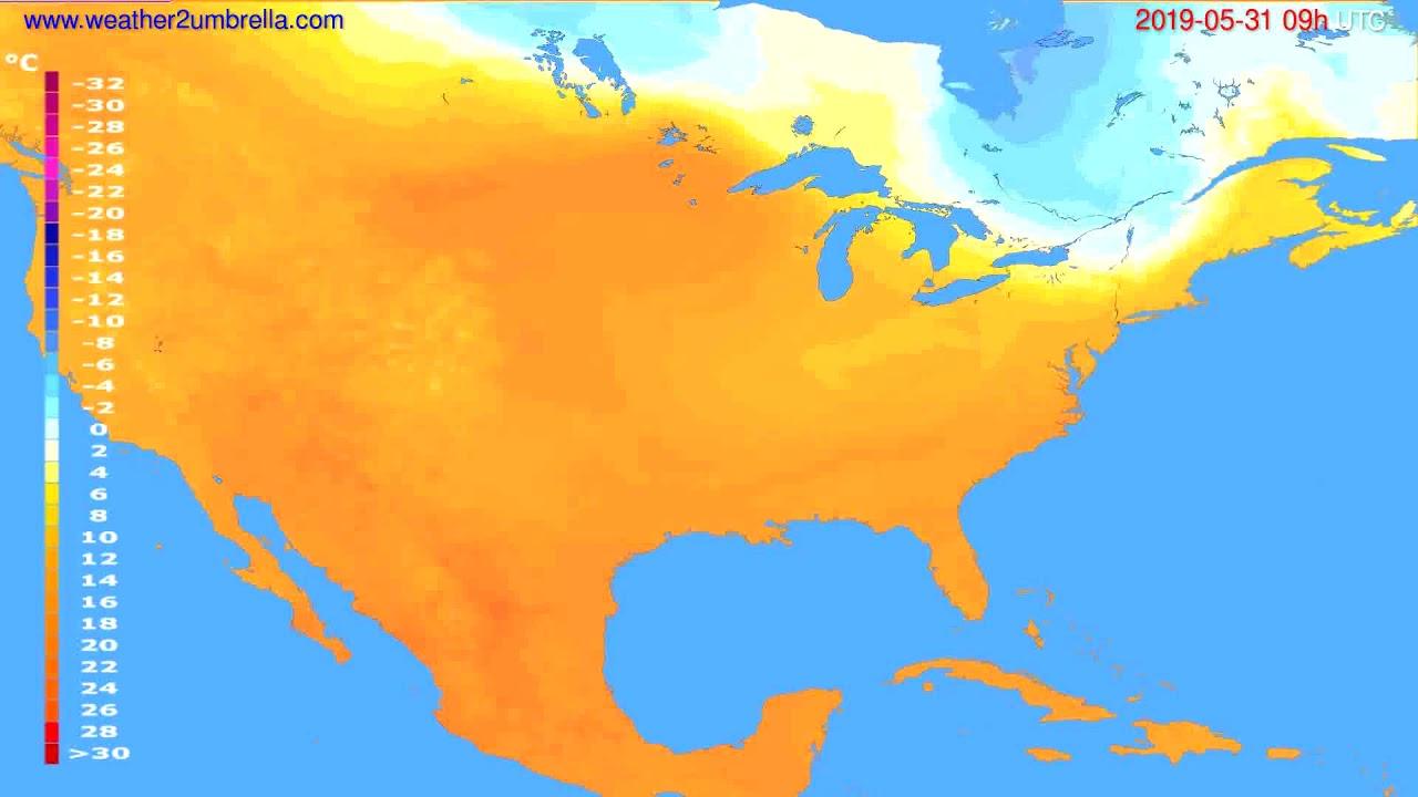Temperature forecast USA & Canada // modelrun: 12h UTC 2019-05-29