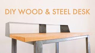 How to Build a Wood & Steel DESK // #diy #woodworking & #welding