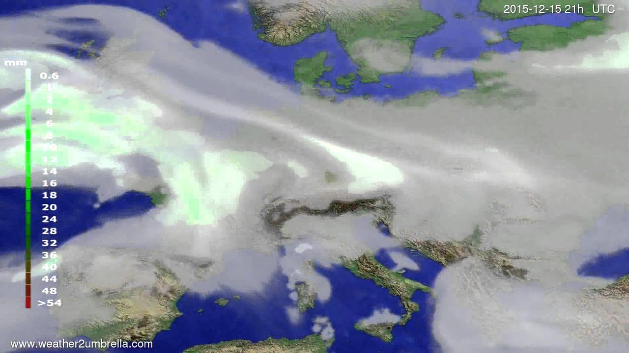 Precipitation forecast Europe 2015-12-12