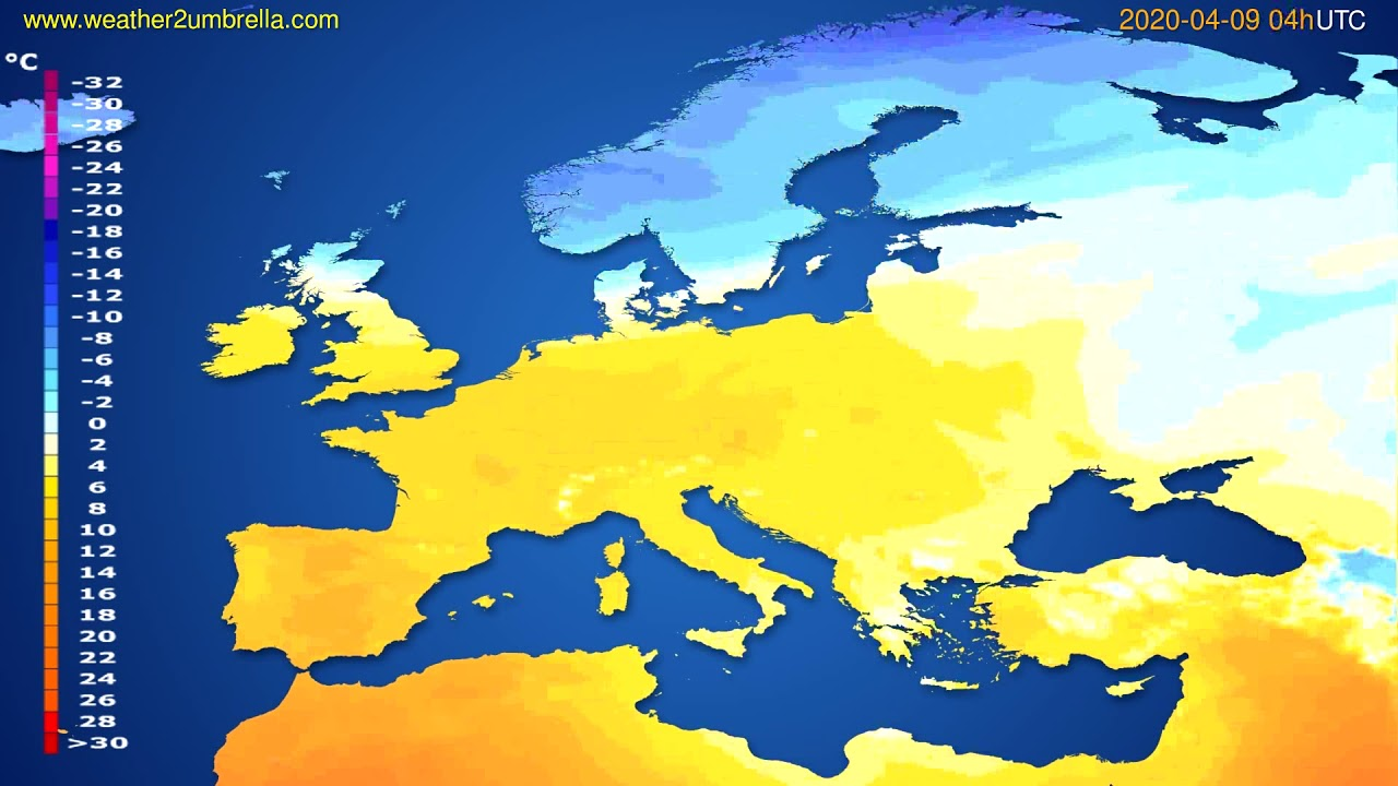 Temperature forecast Europe // modelrun: 12h UTC 2020-04-08