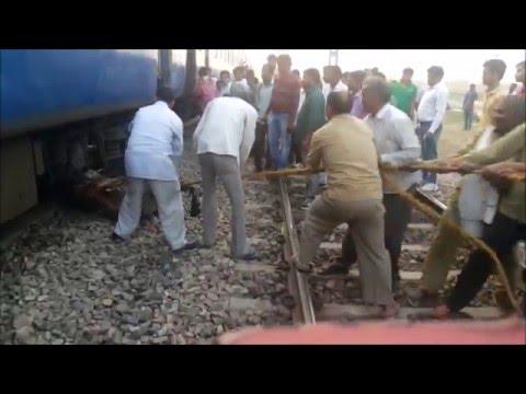 [IRI] full Grown Bull Killed by Indian Railway Train ,railway gangman removing its dead body