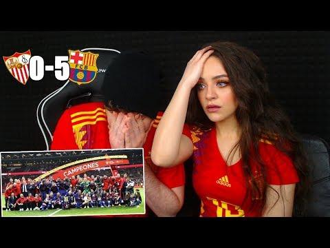 REACCIONANDO con MI NOVIA al Sevilla 0-5 FC Barcelona Final Copa del Rey 2018