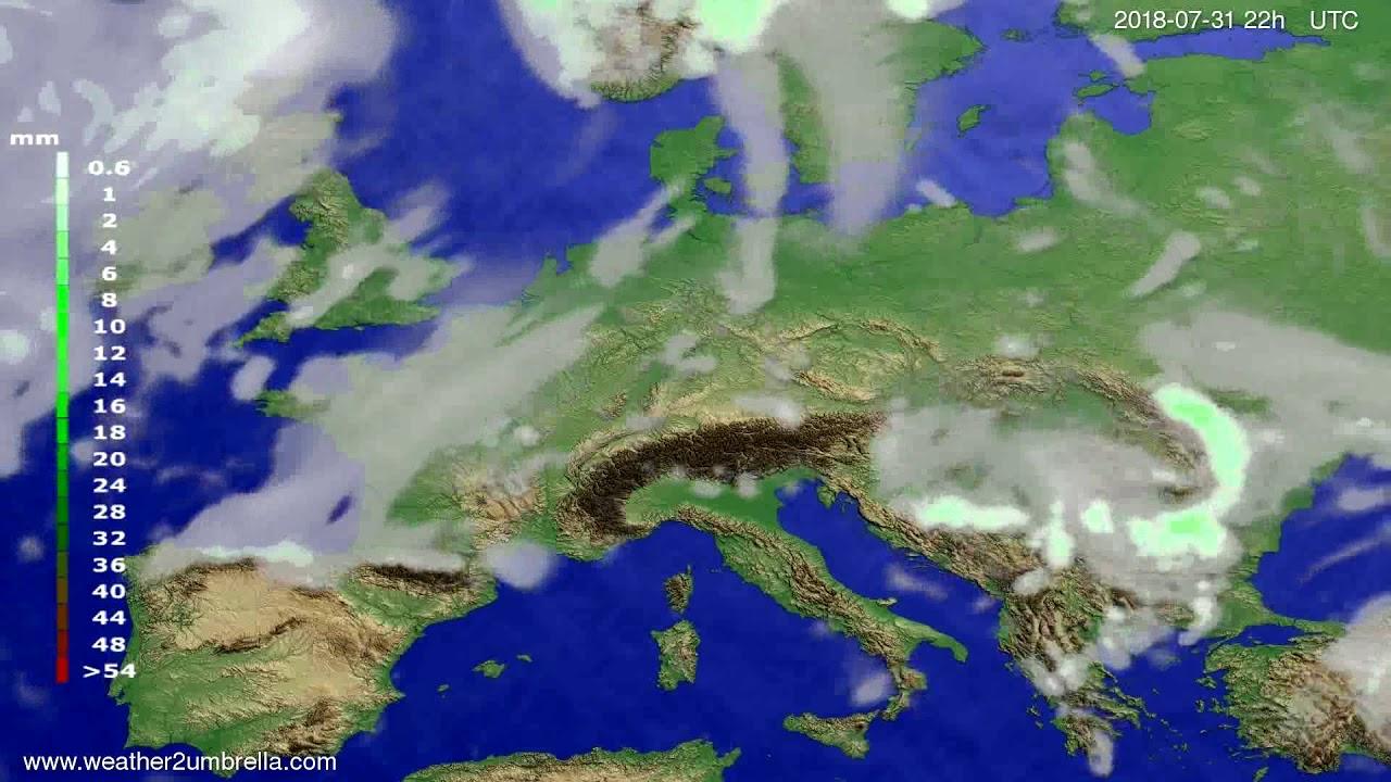 Precipitation forecast Europe 2018-07-29