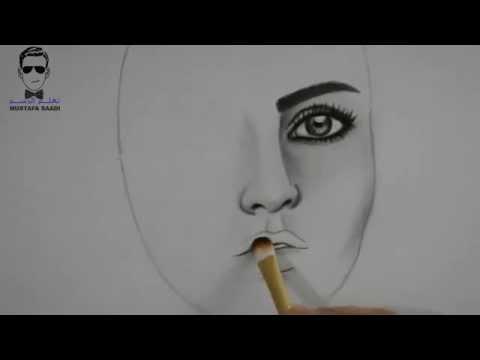 خطوات رسم بورتريه بالفحم drawing girl with charcoal