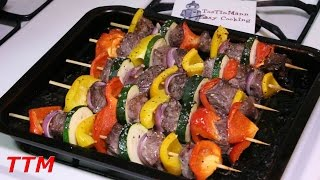 In this easy cooking video, I make some beef shish kabobs in my toaster oven. The ingredients I used are 1 package of lean beef stew meat, 1 red onion, 2 bel...