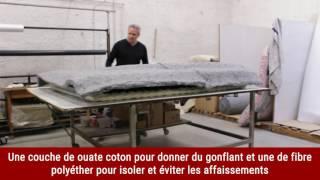 Les étapes de fabrication d\'un matelas en laine avec une carcasse ressort.