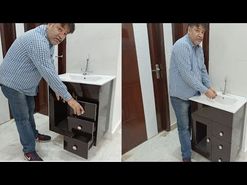New Modern Counter Top Wash Basin Cabinet With Price Detail   furniture rayat