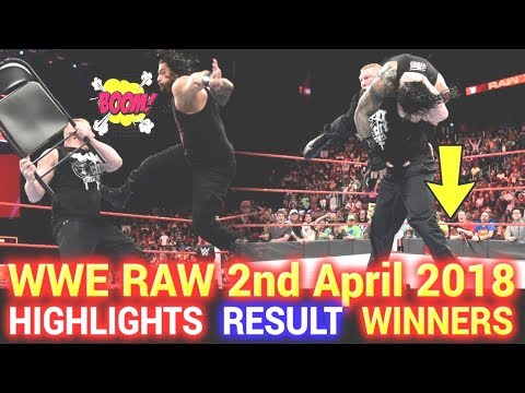 WWE Monday Night Raw 2nd April 2018 Hindi Highlights - Roman Reigns | Brock Lesnar | Results Winner