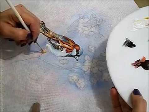 COMO PINTAR PÁSSAROS - PINTURA EM TECIDO - HOW TO PAINT A BIRD