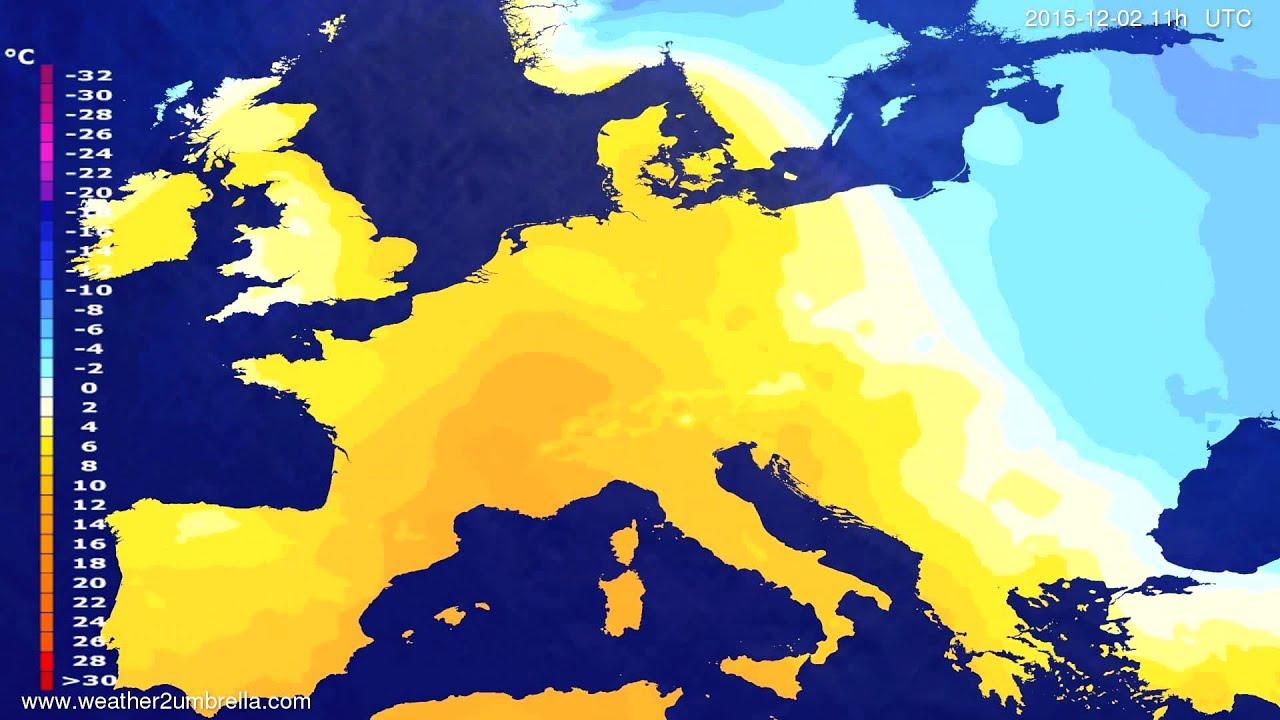 Temperature forecast Europe 2015-11-29