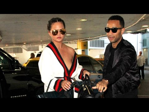 Chrissy Teigen Flashing Some Skin At LAX