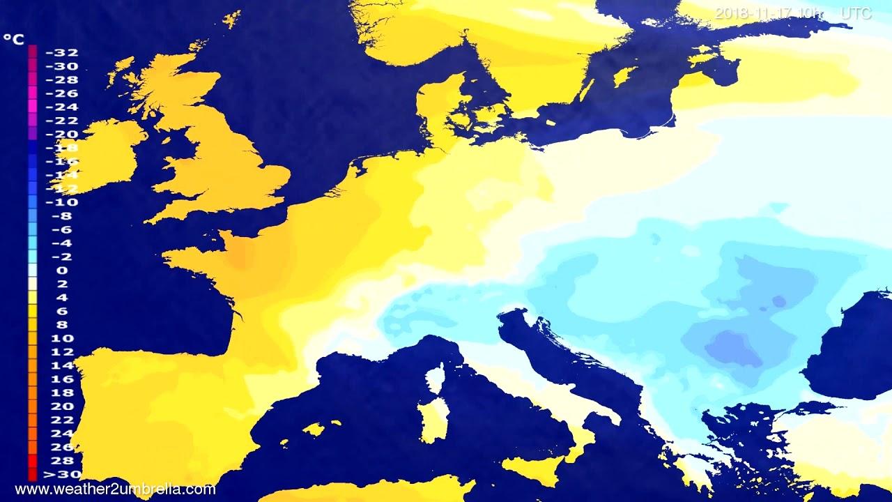 Temperature forecast Europe 2018-11-14