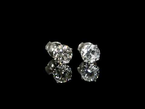 CGL Certified 2.39ct (TDW) Round Brilliant 'Hearts and Arrows' Cut Canadian Diamond Earrings