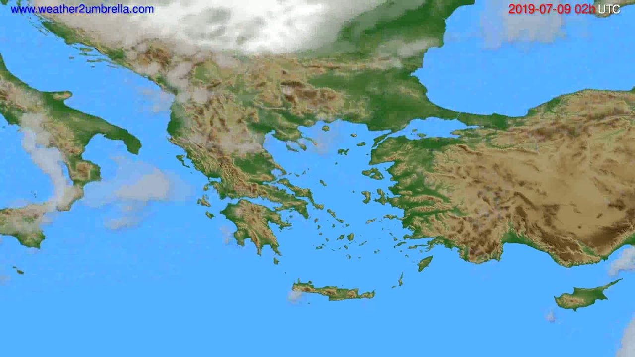 Cloud forecast Greece // modelrun: 12h UTC 2019-07-06
