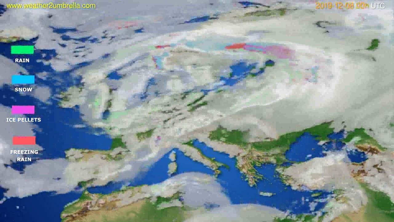 Precipitation forecast Europe // modelrun: 00h UTC 2019-12-08