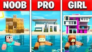NOOB vs PRO vs GIRL FRIEND REALISTIC UNDERWATER HOUSE BUILD BATTLE! (Building Challenge)