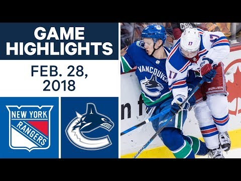 Video: NHL Game Highlights | Rangers vs. Canucks - Feb. 28, 2018