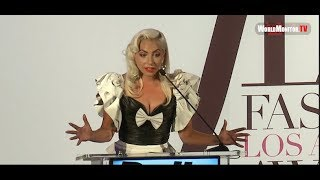 Lady Gaga Emotional Tearful Speech at The Daily Front Row's 2019 Fashion LA Awards