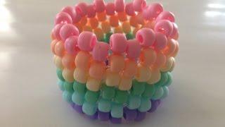 How to Make Jewelry: Horizontal Stripe Kandi Cuff Bracelet - YouTube