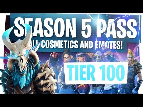 ALL NEW FORTNITE SEASON 5 BATTLE PASS REWARDS & CHALLENGES! - UNLOCKING TIER 100 & LIVE REACTION!