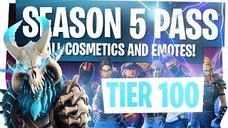 Video ALL NEW FORTNITE SEASON 5 BATTLE PASS REWARDS & CHALLENGES! - UNLOCKING TIER 100 & LIVE REACTION! MP3, 3GP, MP4, WEBM, AVI, FLV Juli 2018