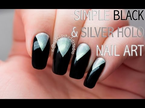Video Tutorial: Simple Black & Silver Holo Nails