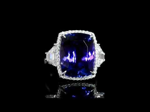 18k White Gold 17.14ct Tanzanite and Diamond Ring