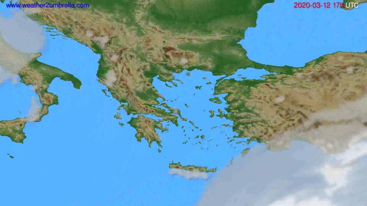 Cloud forecast Greece // modelrun: 12h UTC 2020-03-11