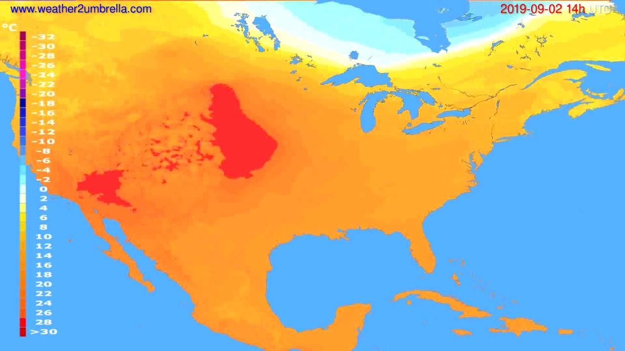 Temperature forecast USA & Canada // modelrun: 00h UTC 2019-08-31