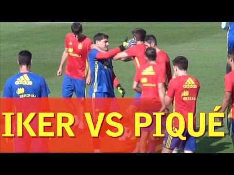 محاولة كوبري كادت أن تتسبب بمشكلة بين بيكيه و كاسياس خلال تدريبات منتخب إسبانيا !