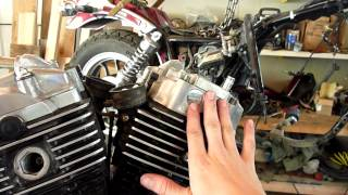 5. 1983 Honda VT750c Shadow Aero V-Twin engine removed