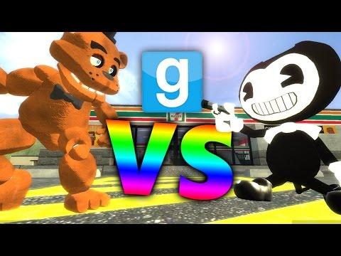 BENDY vs FREDDY?! | Gmod Showdown (Bendy and the Ink Machine Mods, FNAF Mods) (видео)