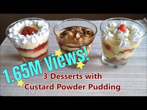 3 desserts with custard powder pudding...create gourmet dessert at home !