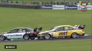 Simon Flemming spins in race 3 at Pukekohe of the 2016/2017 BNT New Zealand Touring Car series