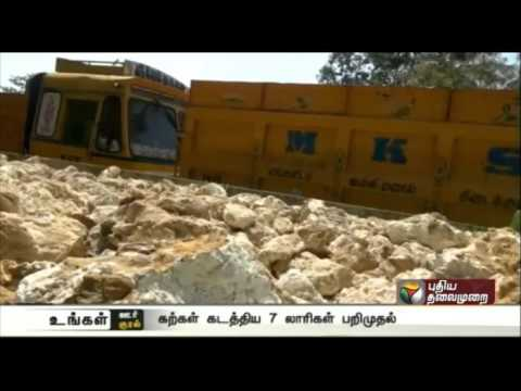 Seven-Tipper-Lorries-seized-for-illegal-mining-of-stones-in-Salem