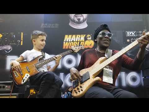 8 year old bass phenom, Áron Hodek jams with Richard Bona at 2019 NAMM