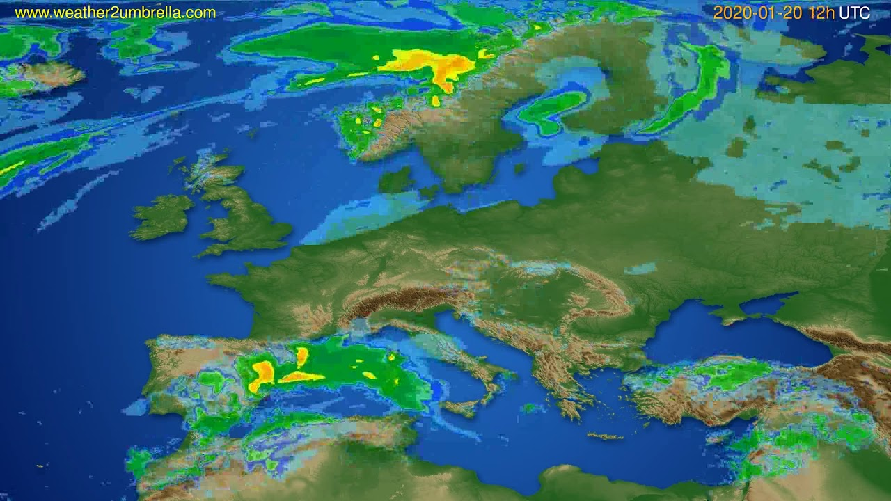 Radar forecast Europe // modelrun: 00h UTC 2020-01-20