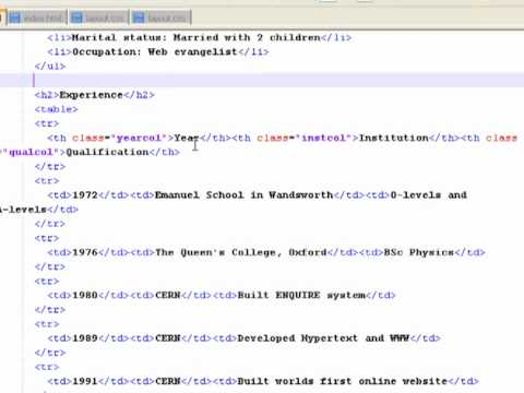 PART 06 Adding The HTML Content Adding H2 Tags, Unordered Lists And Tables With Class Headings