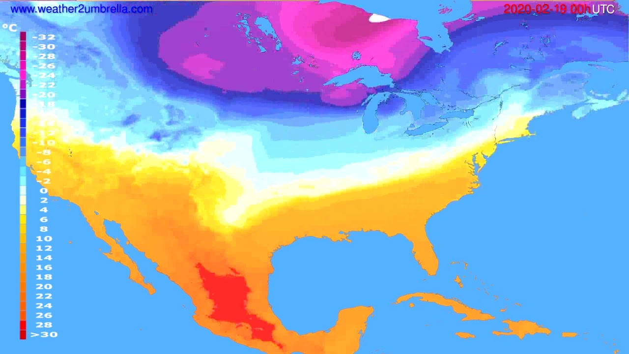 Temperature forecast USA & Canada // modelrun: 00h UTC 2020-02-18