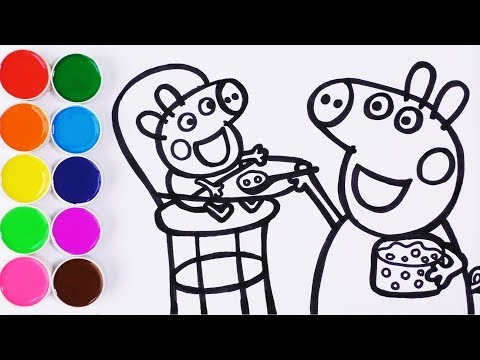 Como Dibujar y Pintar Baby Alexander  y Peppa Pig - Videos Para Niños - Learn Colors / FunKeep