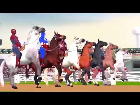 Spiderman and Ironman Cartoons & Batman And Hulk Horse Racing Videos For Children   YouTube 360p