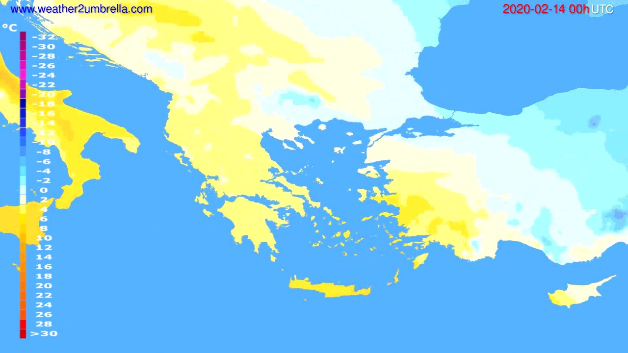 Temperature forecast Greece // modelrun: 00h UTC 2020-02-13