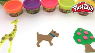 Play Doh Animals Playset - How to make playdough Dog, Giraffe And Tree with Play Doh