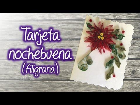 filigrana - Aprende a hacer una Tarjeta Navideña decorada con una Nochebuena elaborada con la técnica de Filigrana de papel, es muy fácil y económica, pero lucirá genial...