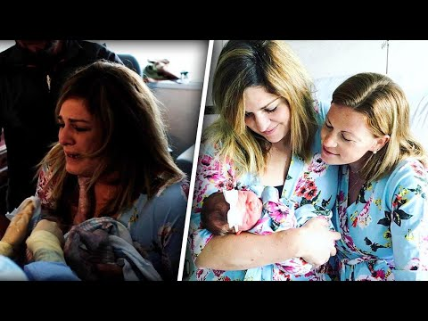 New Mom Cries as She Meets Baby Delivered by Best Friend