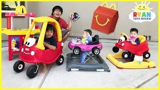 Video McDonald's Drive Thru Prank Bad Daddy! Babies Kids Ride On Car + McDonald's Indoor Playground MP3, 3GP, MP4, WEBM, AVI, FLV Mei 2017