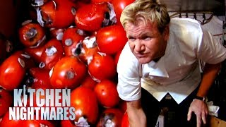 The owners don't care, the chef is in denial and the food is diabolical. It's a classic Kitchen Nightmare.If you liked this clip check out the rest of Gordon's channels:http://www.youtube.com/gordonramsayhttp://www.youtube.com/thefwordhttp://www.youtube.com/kitchennightmaresMore Gordon Ramsay:Website: http://www.gordonramsay.comFacebook: http://www.facebook.com/GordonRamsay01Twitter: http://www.twitter.com/GordonRamsay