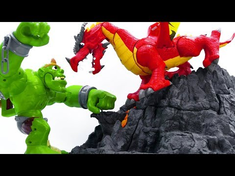 Power Rangers & Marvel Avengers Toys Pretend Mainkan | MONSTER RAKSASA vs DRAGON