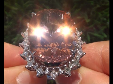 World's Largest GIA Certified VVS Pink Morganite Diamond 14k White Gold Vintage Ring - A121278